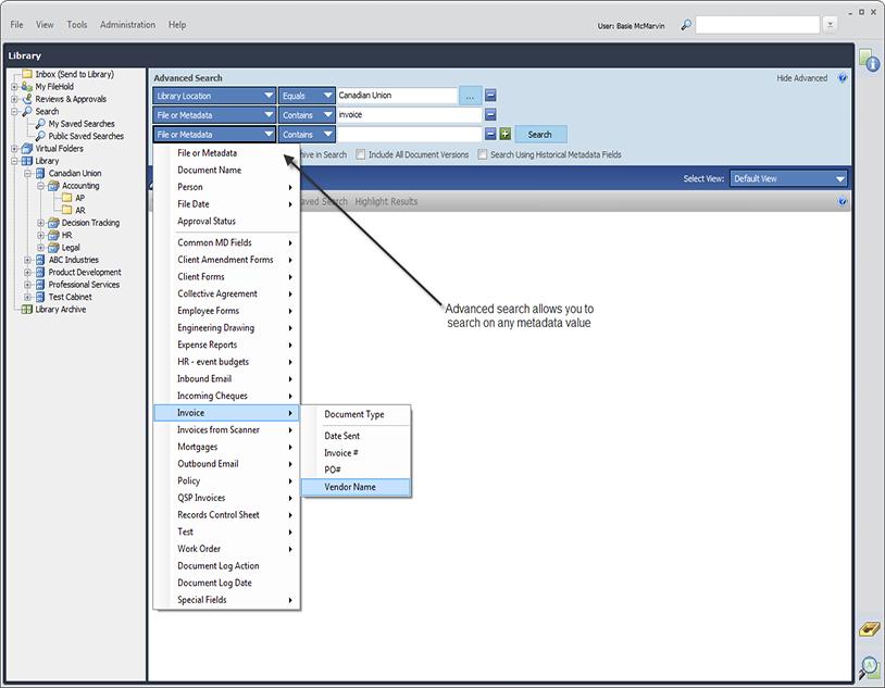 Filehold - Advanced Search using Metadata (tags)